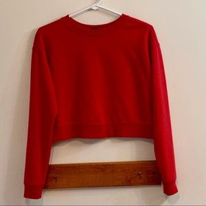 Wild Fable Red Cropped Sweatshirt Size Extra Small